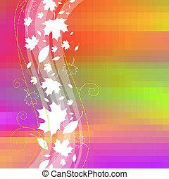 foglie, vettore, fondo, cadere, pixel, acero