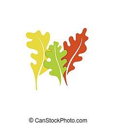foglie, vettore, set, sagoma