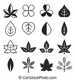 foglie, vettore, silhouette, icona, set, disegno