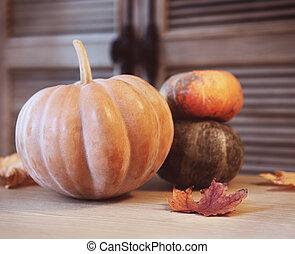 foglie, zucche, tavola legno, autunno