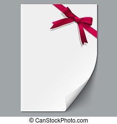 foglio, arco regalo, carta, nastro rosso