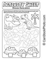 foglio, dinosauro, attività, tema, 1