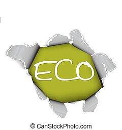 foglio, -, ecologico, articolo, carta, organico, buco