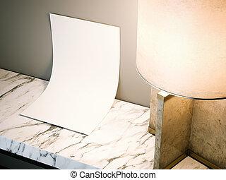 foglio, interpretazione, vuoto, bianco, tavola., 3d
