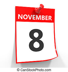 foglio, pin., 8, novembre, calendario, rosso