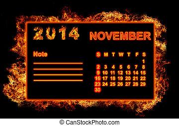 fogo,  2014, Calendário, novembro