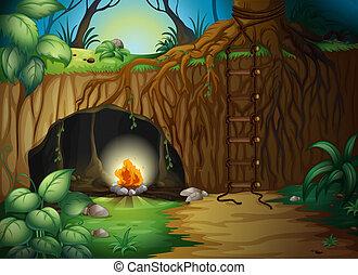 fogo, acampamento, caverna