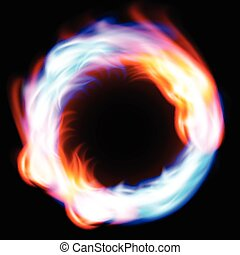 fogo, anel, experiência preta