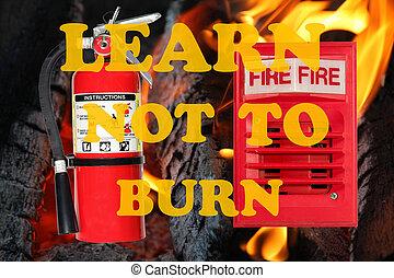 fogo, aprender, queimadura, consciência, sinal, não