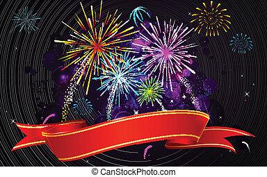 fogo artifício, coloridos