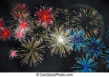 fogo artifício, desenho, digitalmente gerado