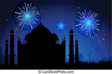 fogo artifício, em, taj mahal