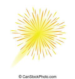 fogo artifício, fundo, ano, novo, branca, celebração