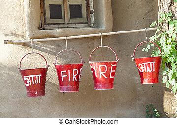 fogo, baldes, areia, vermelho, enchido