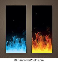 fogo, bandeiras, vetorial