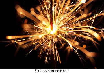 fogo, bengal, experiência., pretas, sparkler, natal