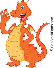 fogo,  CÙte,  waving, caricatura, dragão