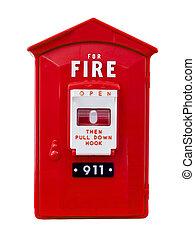 fogo, caixa, alarme, isolado