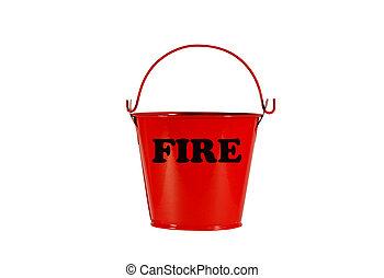 fogo, caminho, balde, isolado