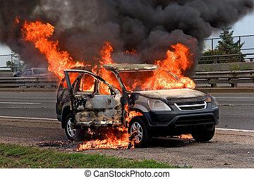 fogo, car, queimadura