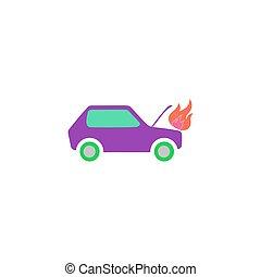 fogo, car, vetorial, ícone