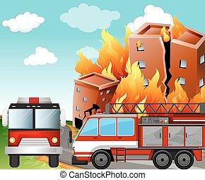 fogo, cena, caminhões