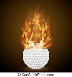 fogo, chama, bola, golfe, queimadura