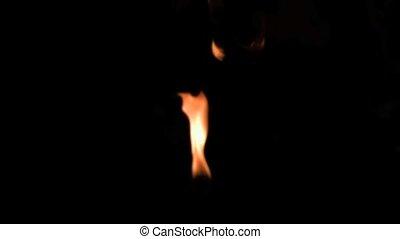 fogo, chamas, em, super, movimento lento