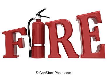 fogo, conceito, segurança