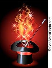 fogo, conjurer, chapéu, vermelho, flamejar