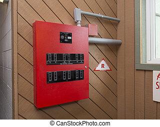 fogo, controle, alarme, painel