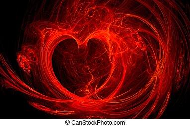 fogo, coração, vermelho, ilustração