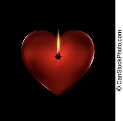 fogo, coração, vermelho