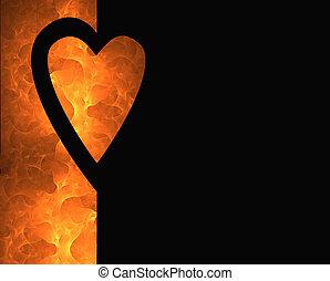 fogo, corações, 2