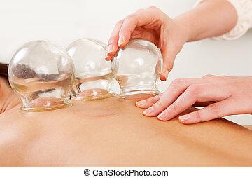 fogo, cupping, remoção, de, globo vidro