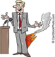fogo, dizendo, caricatura, calças