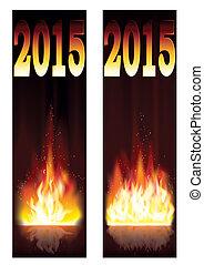 fogo, dois, ano, 2015, novo, bandeiras