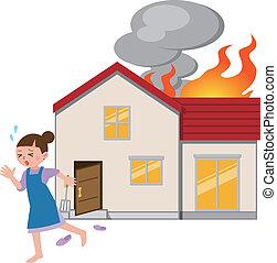 fogo, dona de casa, fuga