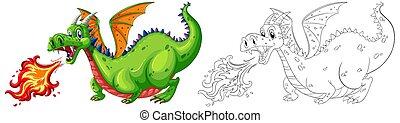 fogo, doodle, soprando, animal, dragão