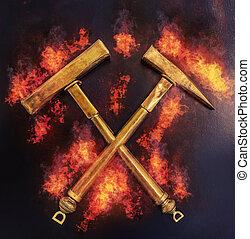 fogo, dourado, martelos