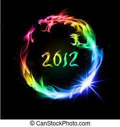 fogo, dragão, arco íris