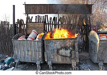 fogo, dumpster