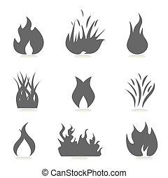 fogo, e, chama, ícones