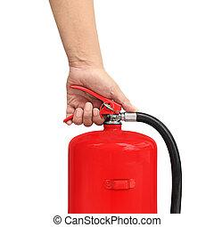fogo, extintor, imprensas, gatilho, mão