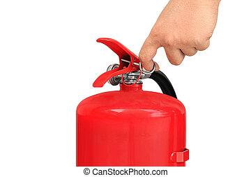 fogo, extintor, puxando, alfinete, mão