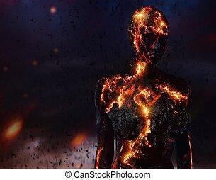 fogo, feito, lava, criatura