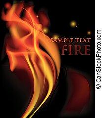 fogo, flames., vetorial