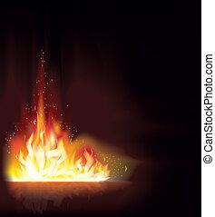 fogo, fundo, chama, vetorial
