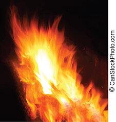 fogo, fundo, vetorial, pretas