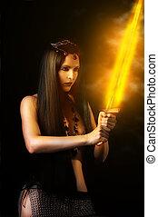 fogo, guerreira, mulher, espada, excitado